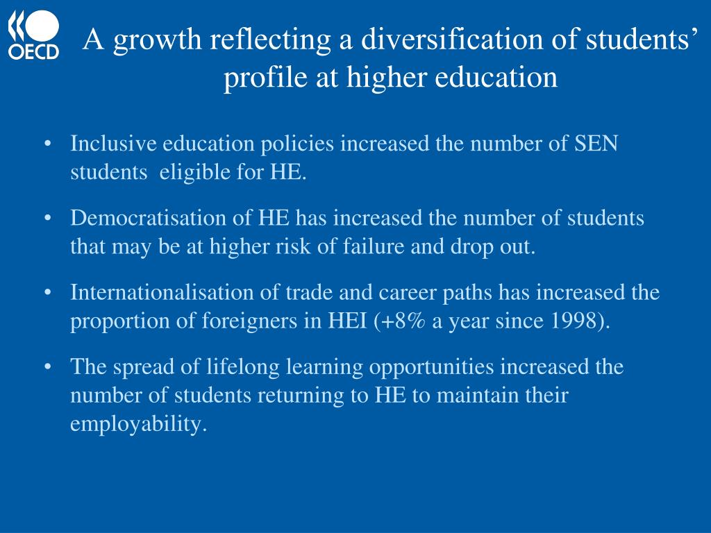 A growth reflecting a diversification of students' profile at higher education