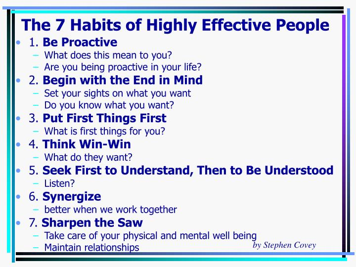 Habit 1 Be Proactive Based On The Work Of Stephen: Sept 24, 2008 By Dr. David Agnew Associate Professor