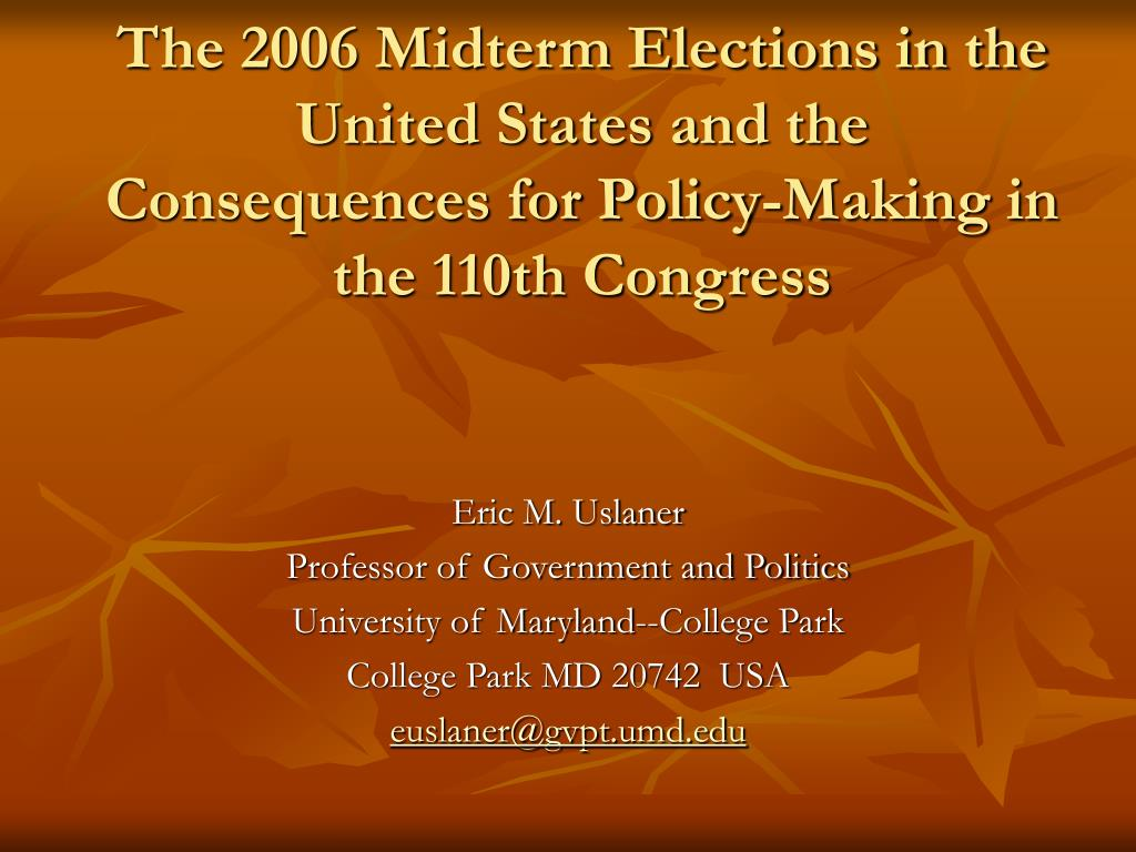 The 2006 Midterm Elections in the United States and the
