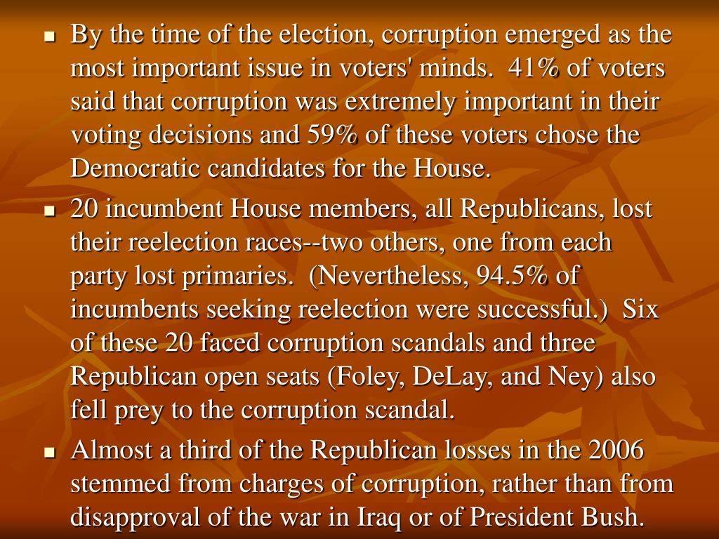 By the time of the election, corruption emerged as the most important issue in voters' minds.  41% of voters said that corruption was extremely important in their voting decisions and 59% of these voters chose the Democratic candidates for the House.