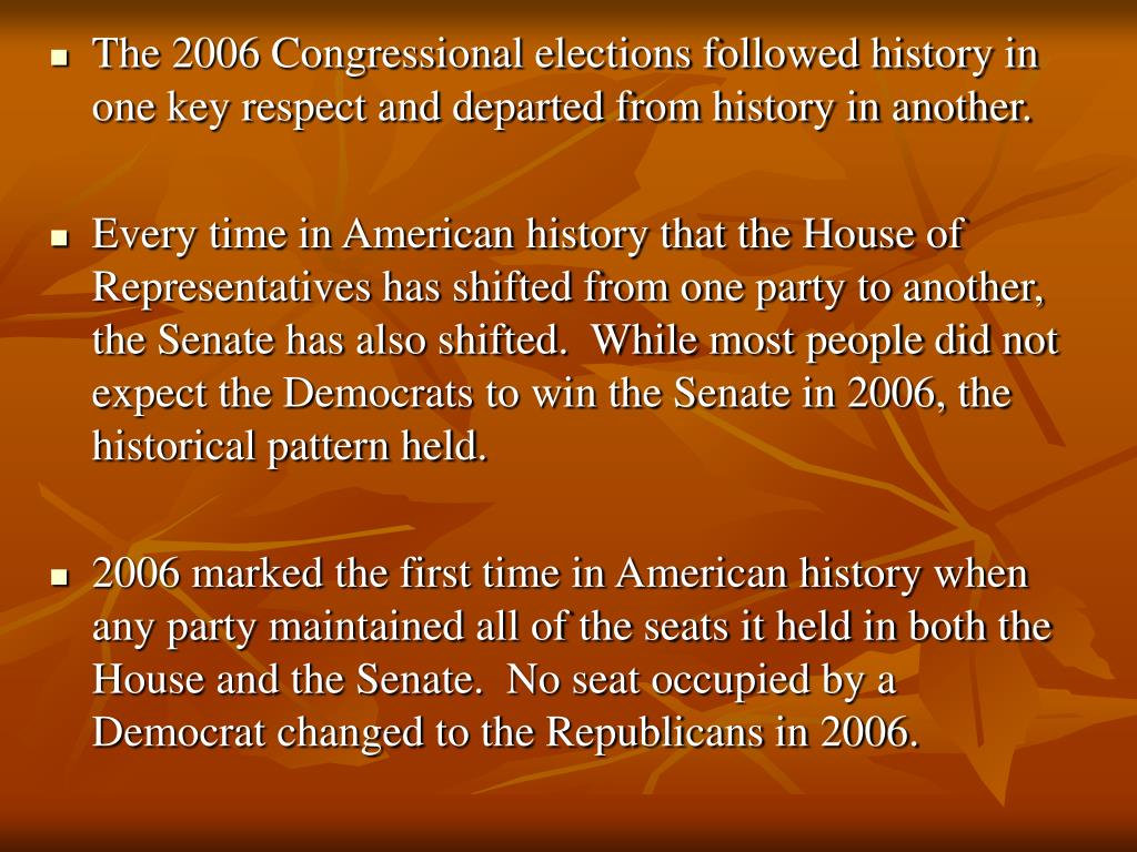 The 2006 Congressional elections followed history in one key respect and departed from history in another.