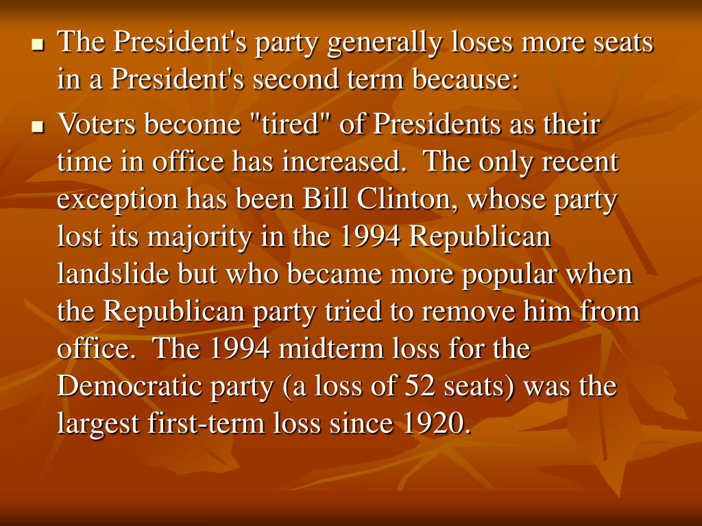 The President's party generally loses more seats in a President's second term because:
