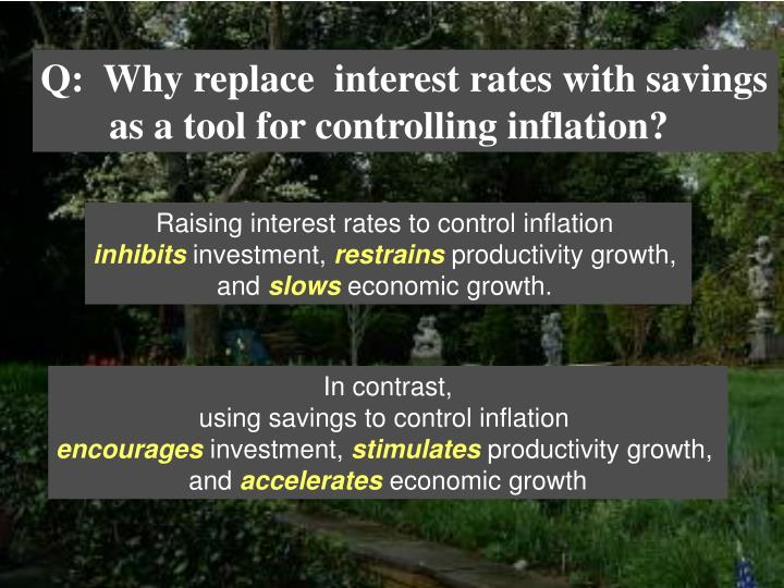 Q:  Why replace  interest rates with savings