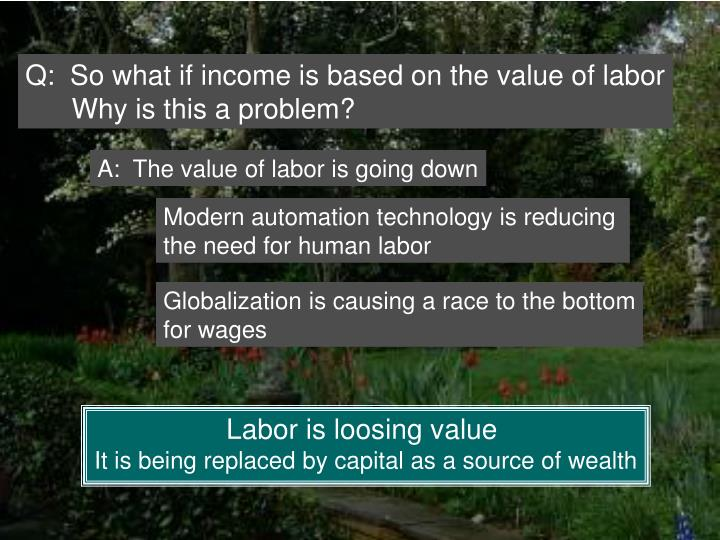 Q:  So what if income is based on the value of labor