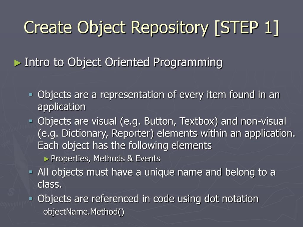 Create Object Repository [STEP 1]