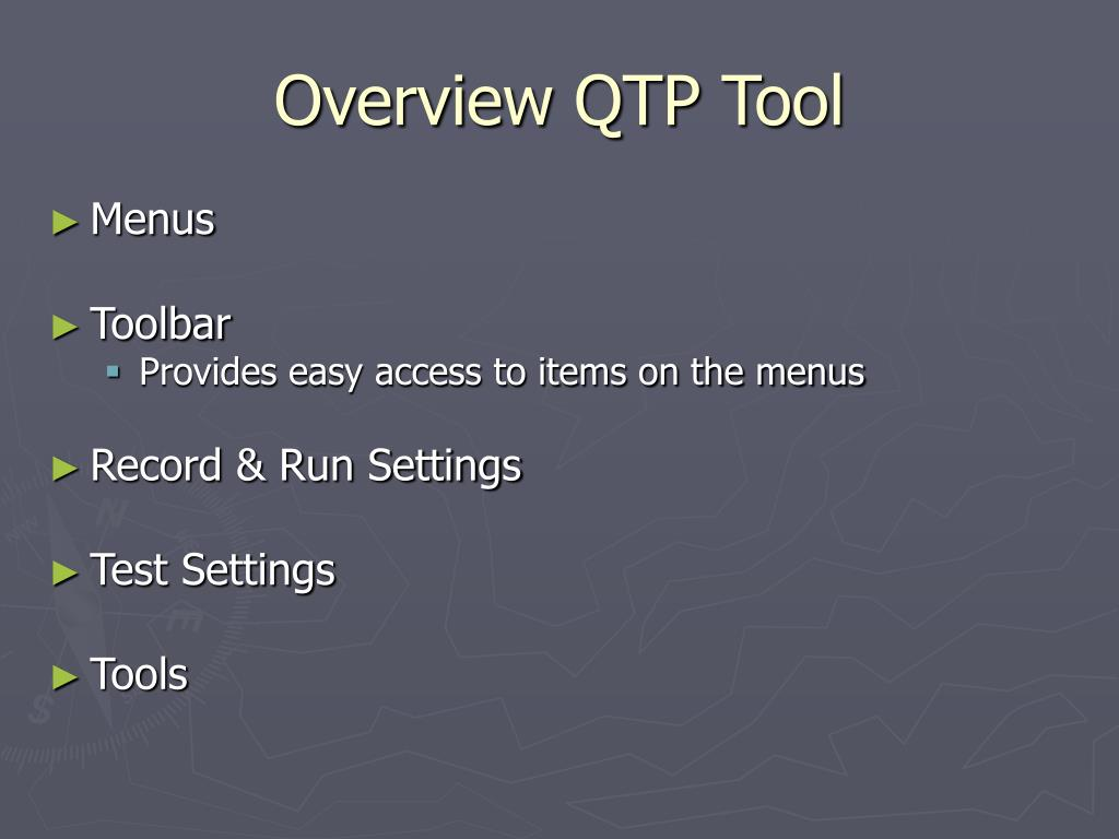 Overview QTP Tool