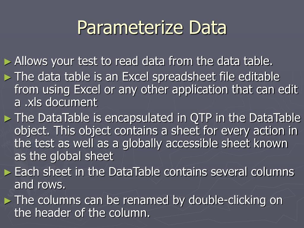 Parameterize Data