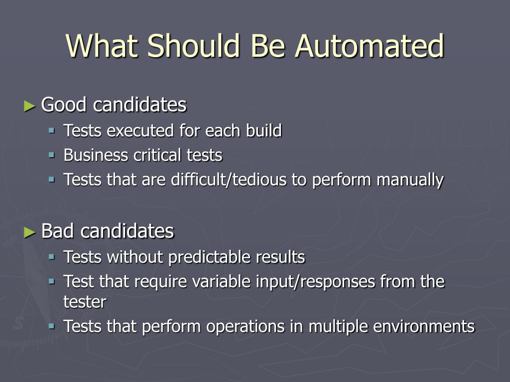 What Should Be Automated