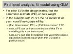 first level analysis fit model using glm