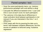 paired samples t test