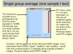 single group average one sample t test