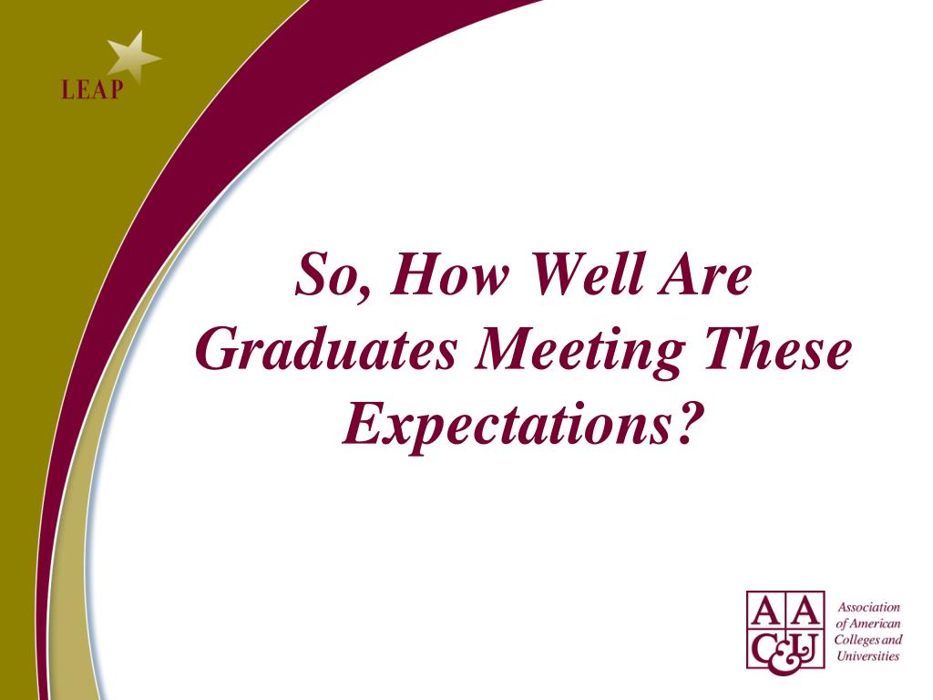 So, How Well Are Graduates Meeting These Expectations?