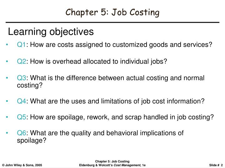 Chapter 5 job costing