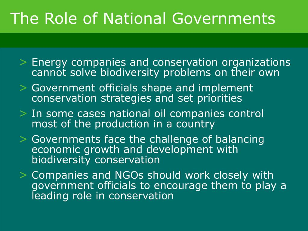 The Role of National Governments