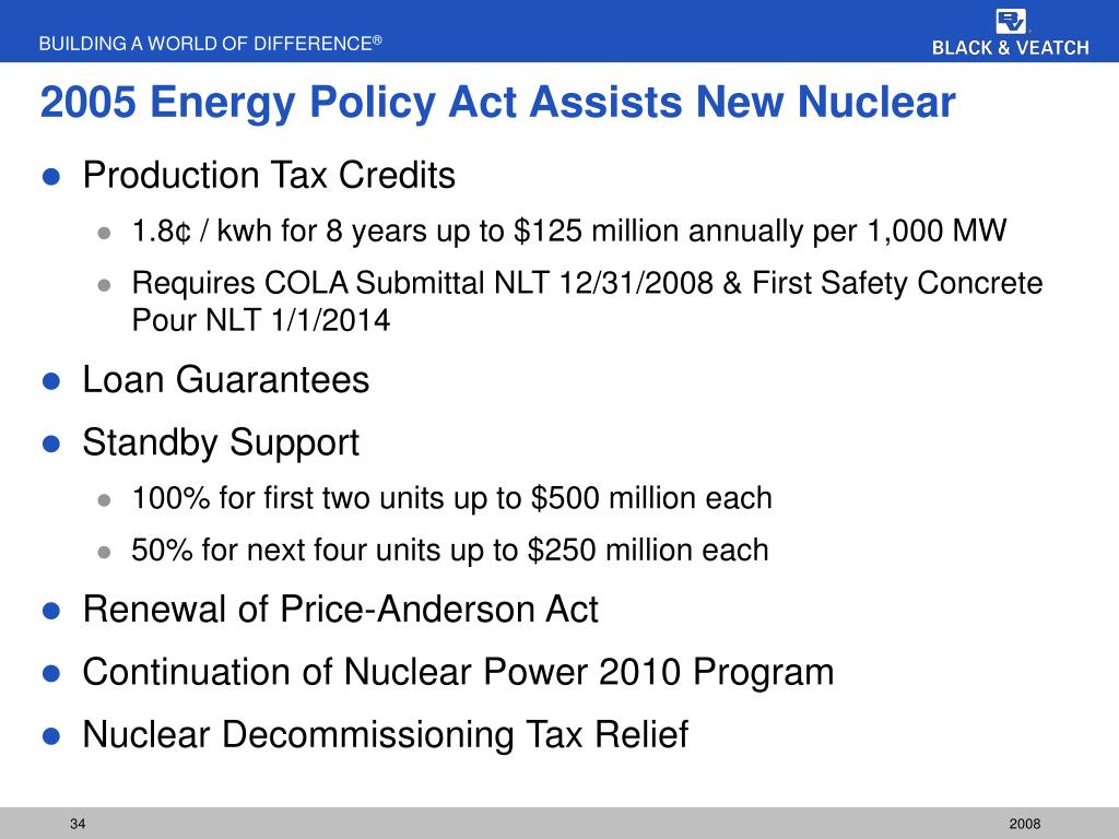 2005 Energy Policy Act Assists New Nuclear