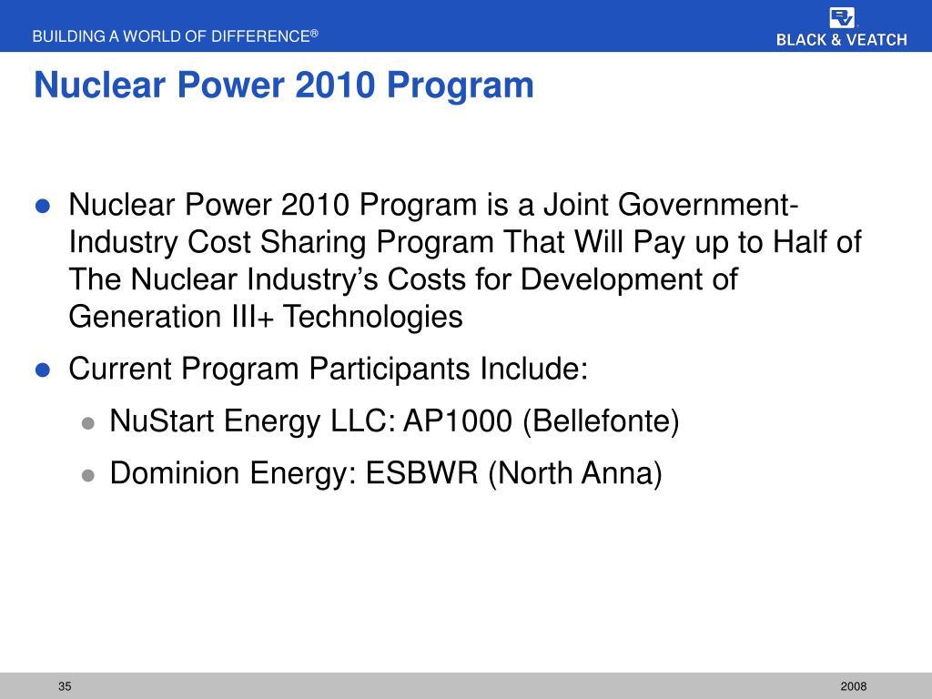 Nuclear Power 2010 Program