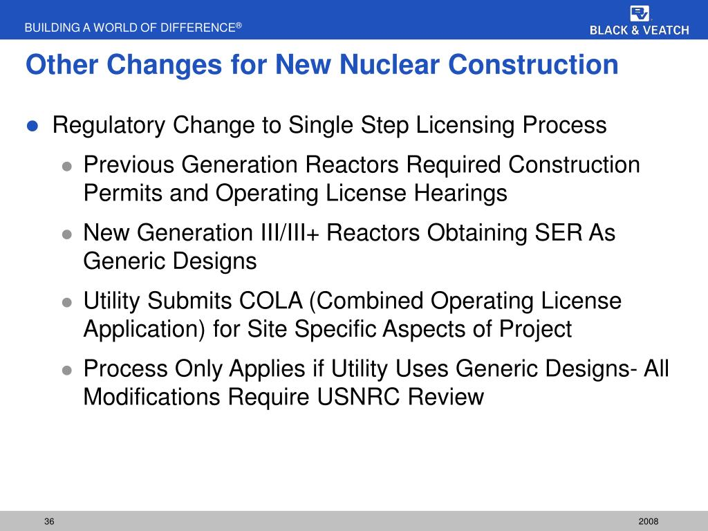 Other Changes for New Nuclear Construction