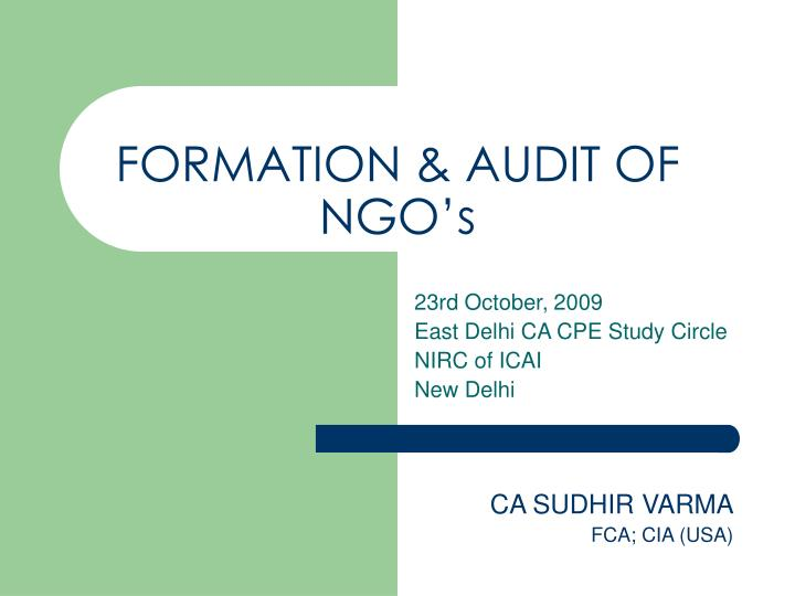Formation audit of ngo s