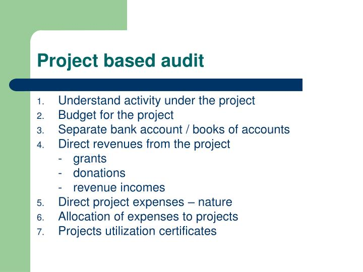 Project based audit