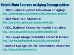helpful data sources on aging demographics