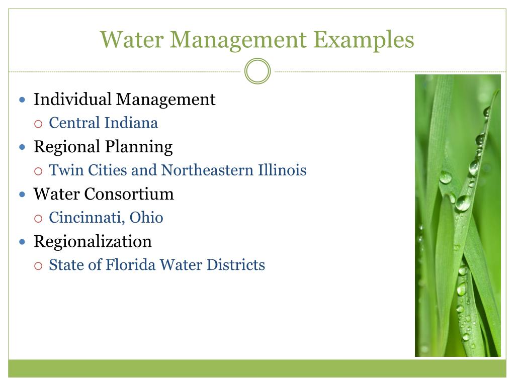 Water Management Examples