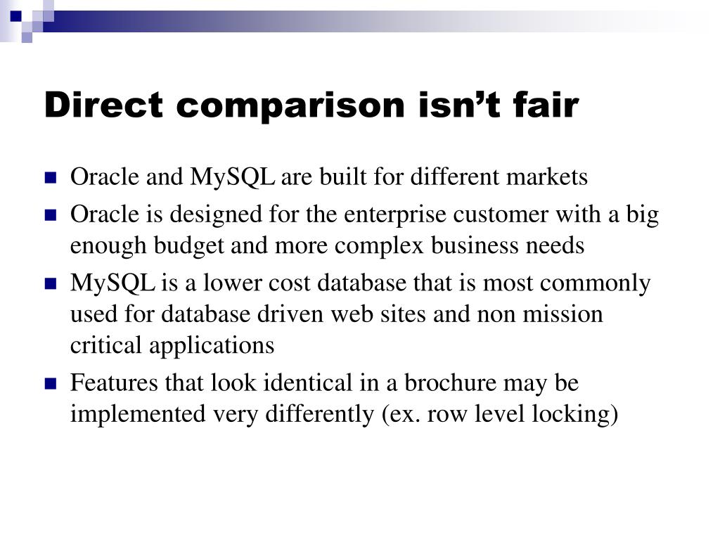 a comparison of oracle and mysql