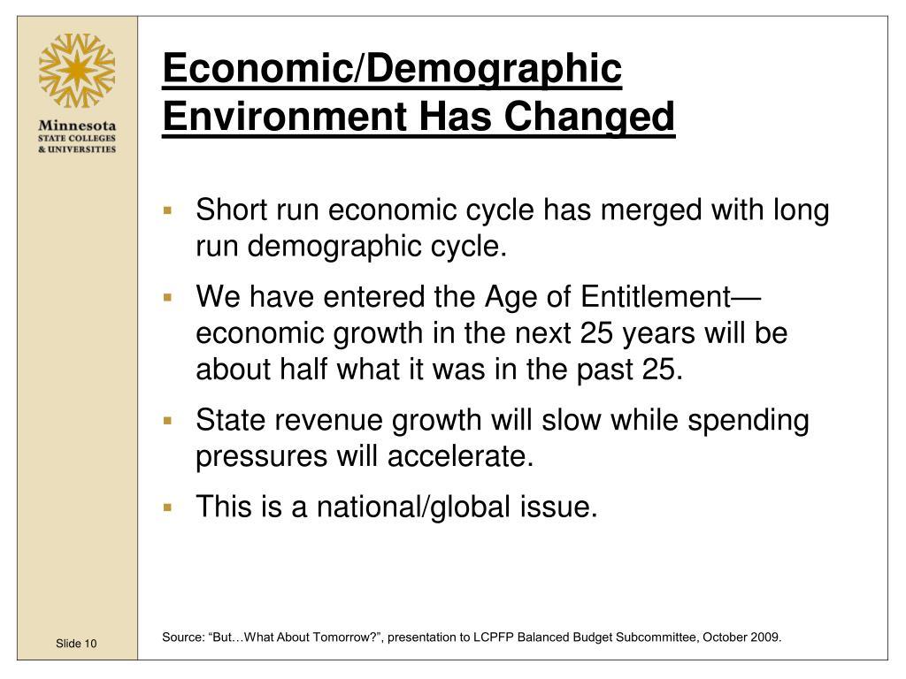 Economic/Demographic Environment Has Changed