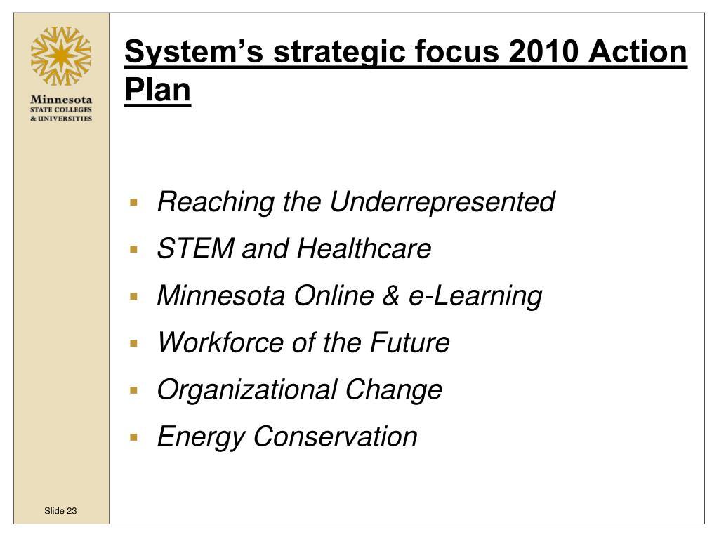 System's strategic focus 2010 Action Plan