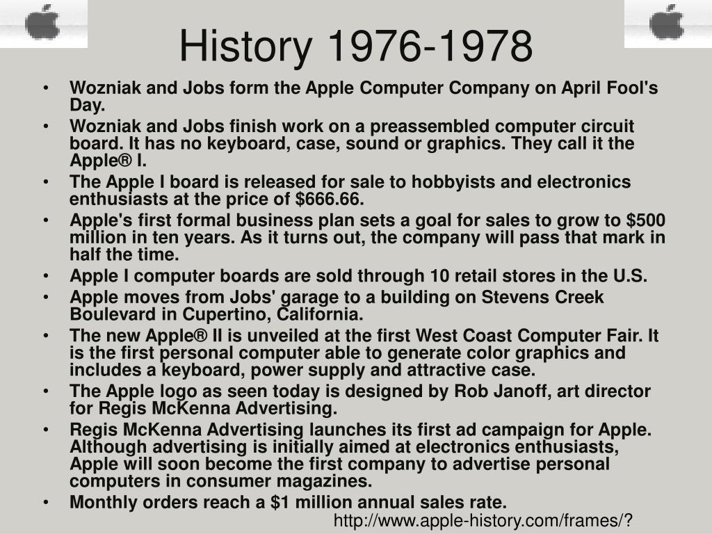 History 1976-1978