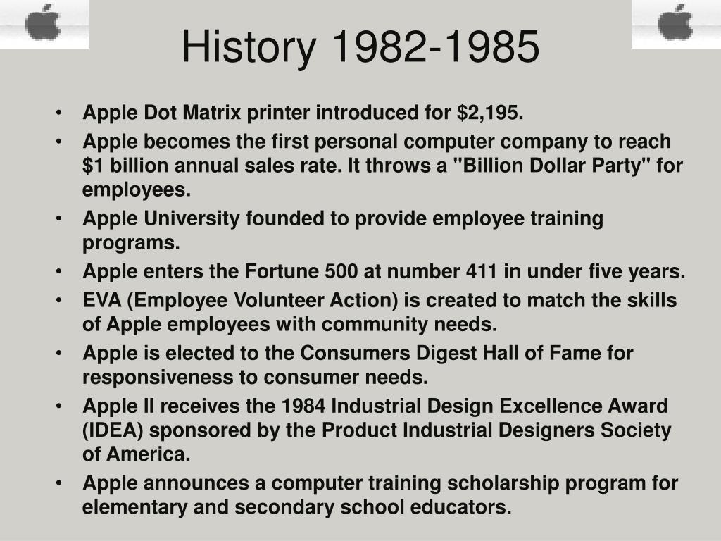 History 1982-1985