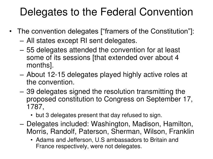 Delegates to the federal convention
