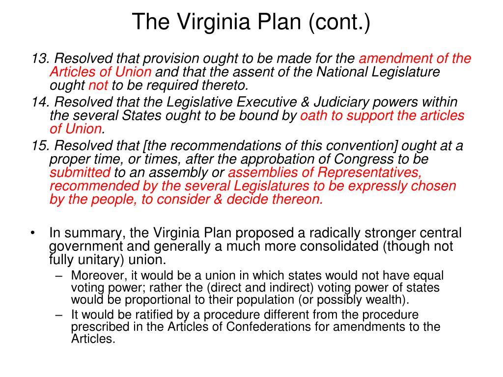 The Virginia Plan (cont.)