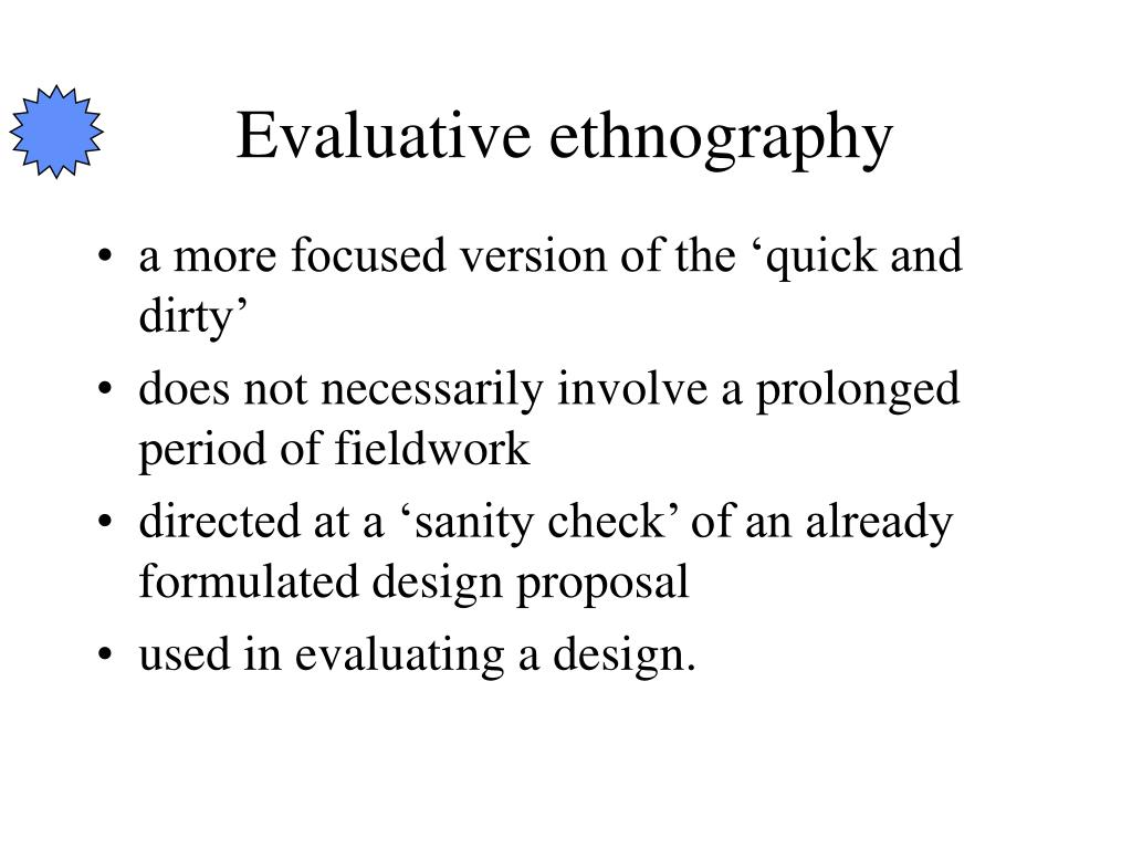 Evaluative ethnography