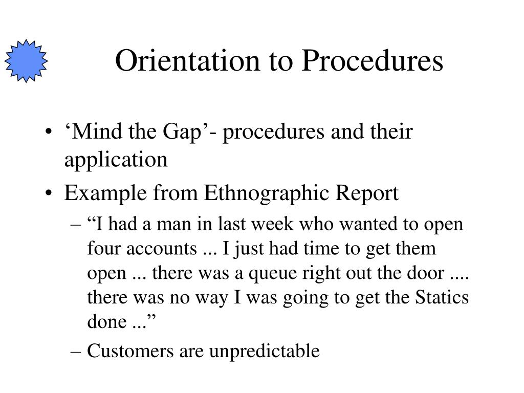 Orientation to Procedures