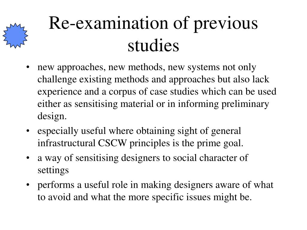 Re-examination of previous studies