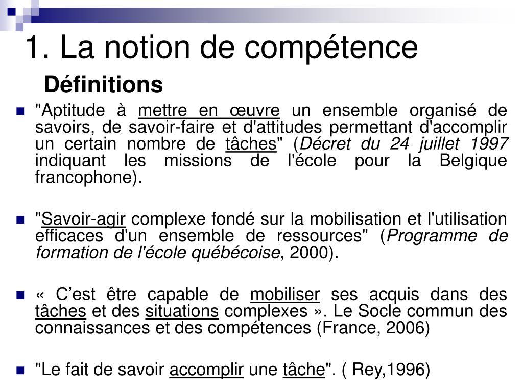 1. La notion de compétence