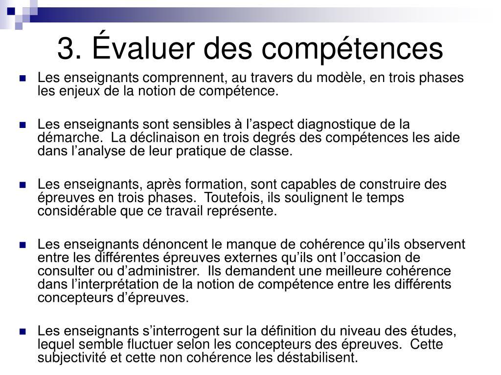 3. Évaluer des compétences