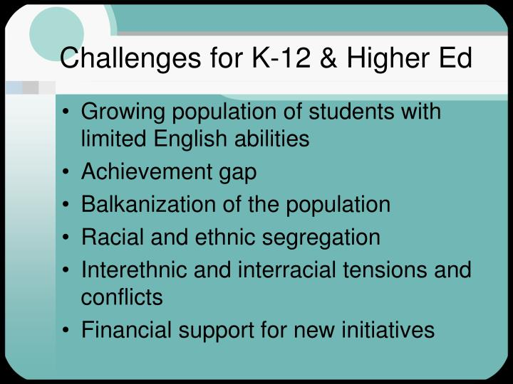 Challenges for K-12 & Higher Ed