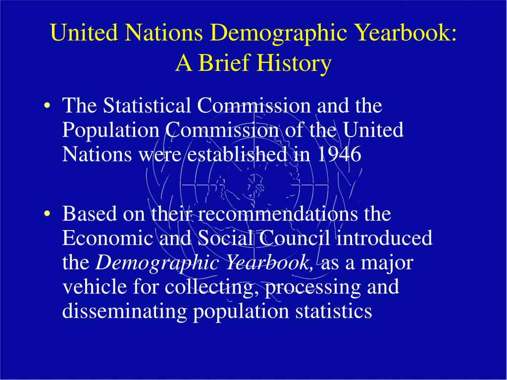 United Nations Demographic Yearbook:  A Brief History