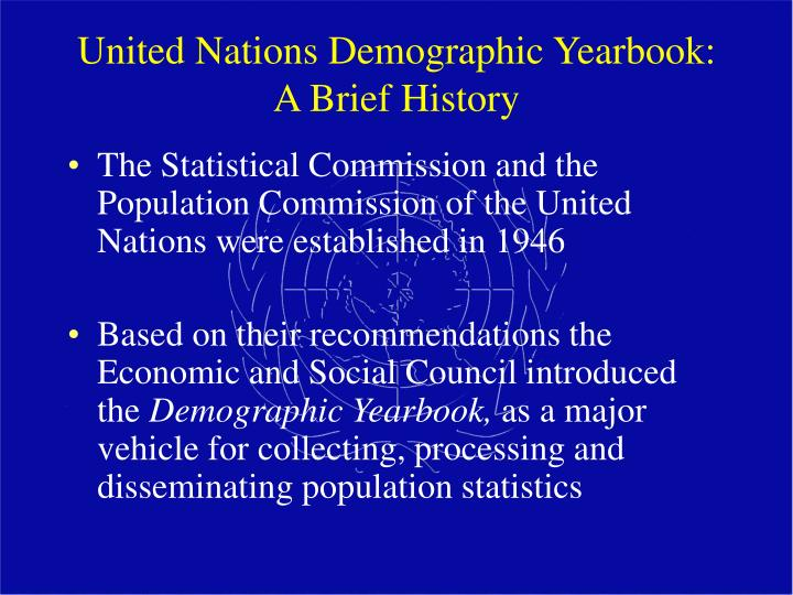 United nations demographic yearbook a brief history