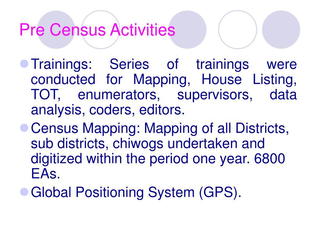 Pre Census Activities
