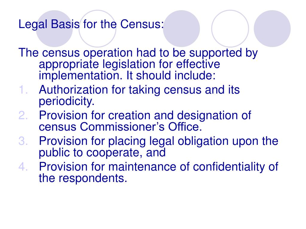 Legal Basis for the Census: