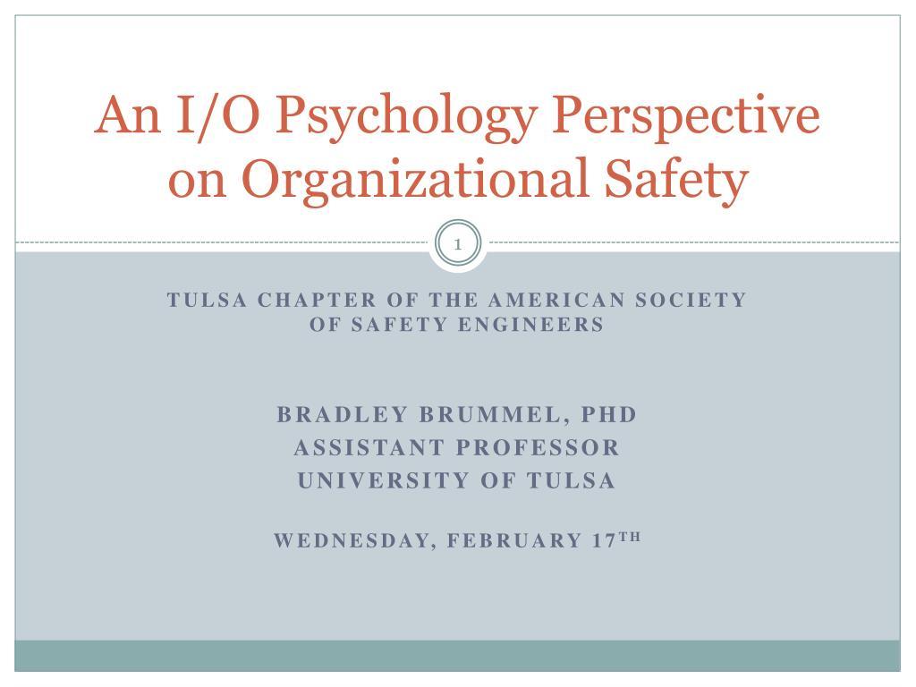 an i o psychology perspective on organizational safety