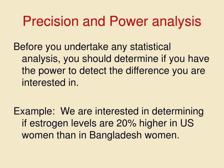 Precision and Power analysis