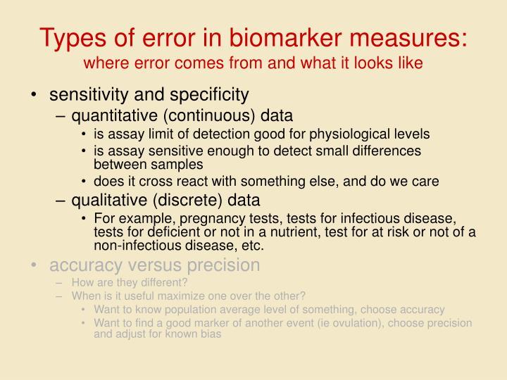 Types of error in biomarker measures: