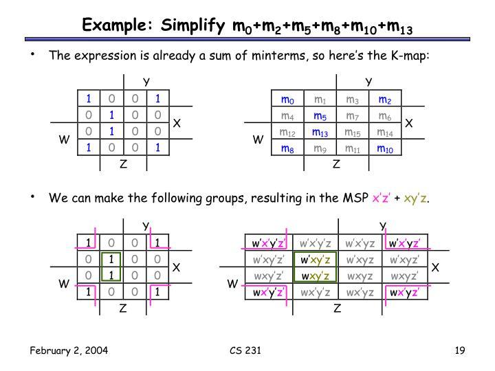 Example: Simplify m