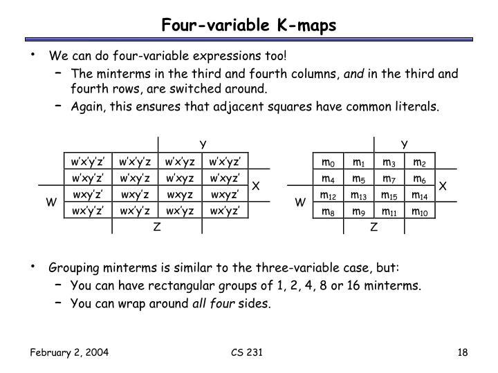 Four-variable K-maps