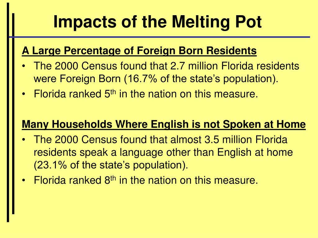 Impacts of the Melting Pot