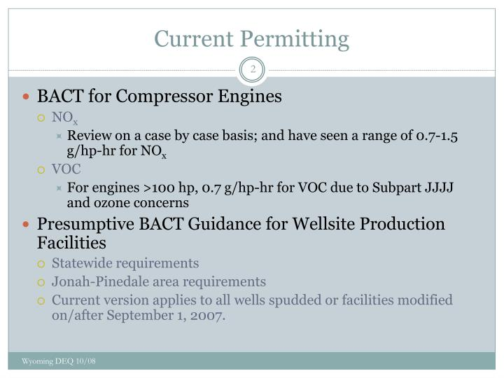 Current permitting