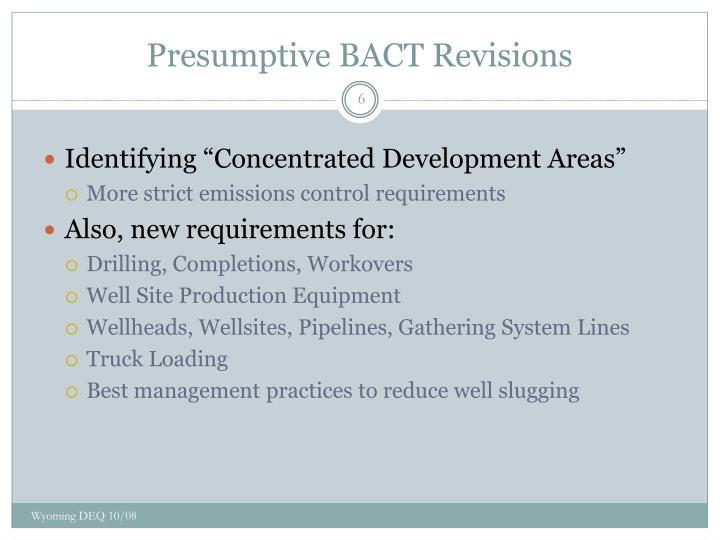 Presumptive BACT Revisions